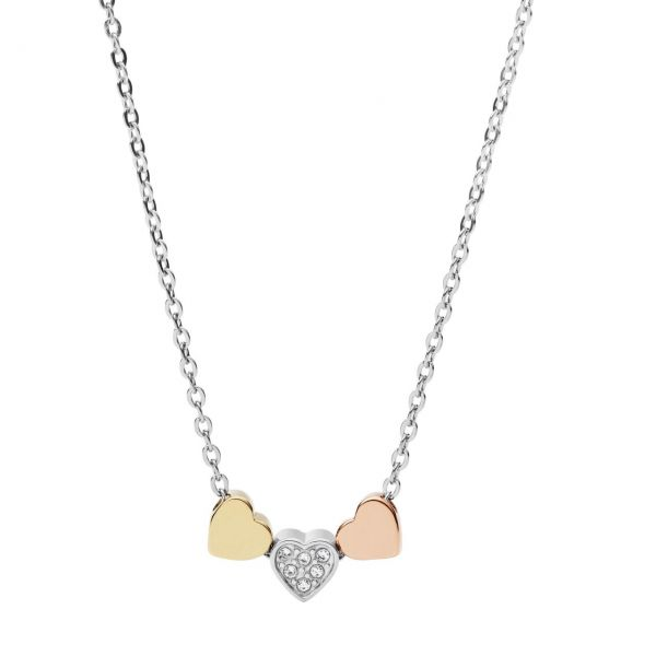 Fossil - Heart Tri Tone Collier JF02856998
