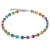 Coeur de Lion GeoCUBE® Halskette Swarovski® - Kristalle small multicolor